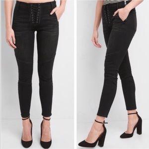 Gap True Skinny Lace Up Moto Black Jean 27